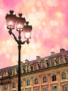 Photography Of Lamps Framed Prints - Paris Dreamy Pink Surreal Place Vendome Sparkling Street Lamps - Paris Lanterns Architecture Framed Print by Kathy Fornal