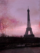 Dreamy Blue Paris Prints Prints - Paris Dreamy Romantic Paris Eiffel Tower Pink Architecture Eiffel Tower Photo Montage Print by Kathy Fornal