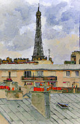 Old Town Digital Art Prints - Paris Eiffel Tower 1 Print by Yury Malkov