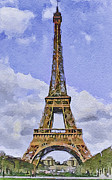 Old Town Digital Art Prints - Paris Eiffel Tower 2 Print by Yury Malkov
