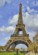 Old Town Digital Art Prints - Paris Eiffel Tower 3 Print by Yury Malkov