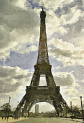 Old Town Digital Art Prints - Paris Eiffel Tower 4 Print by Yury Malkov