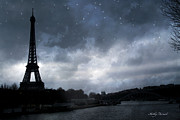 Dreamy Blue Paris Prints Prints - Paris Eiffel Tower Blue Starlit Night Sky Scene Print by Kathy Fornal