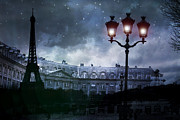 Dreamy Blue Paris Prints Prints - Paris Eiffel Tower Blue Starry Night Street Lamp Fantasy Photo Montage  Print by Kathy Fornal