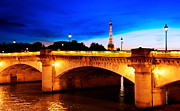 Paris Metal Prints - Paris Eiffel Tower Bridge Metal Print by Phill Petrovic