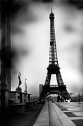 Romantic Paris Prints Prints - Paris Eiffel Tower - La Tour Eiffel - Black and White Paris Photography Print by Kathy Fornal
