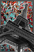 Black And White Paris Mixed Media Posters - Paris - Eiffel Tower Poster by Mark Compton