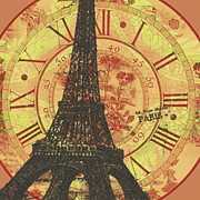 Fauna Mixed Media Metal Prints - Paris Eiffel tower mixed clock wall Metal Print by Art World