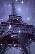 Romantic Paris Prints Prints - Paris Eiffel Tower Starry Night Photos - Eiffel Tower With Stars Celestial Fantasy Sparkling Lights  Print by Kathy Fornal