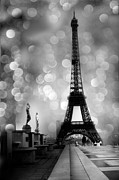 Paris Metal Prints - Paris Eiffel Tower Surreal Black and White Photography - Eiffel Tower Bokeh Surreal Fantasy Night  Metal Print by Kathy Fornal