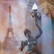Photo Prints Prints - Paris Eiffel Tower Surreal Fantasy Montage Print by Kathy Fornal