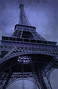 Dreamy Blue Paris Prints Posters - Paris Eiffel Tower Surreal Lavender Purple Blue Photos - Eiffel Tower Architecture  Poster by Kathy Fornal