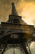 Paris Metal Prints - Paris Eiffel Tower Surreal Looking Up from Champs Des Mars - Surreal Eiffel Tower Sunset Sepia Sky Metal Print by Kathy Fornal
