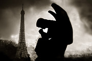 Black And White Paris Posters - Paris - Eiffel Tower With Angel Poster by Kathy Fornal