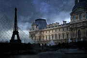 Winter Photos Metal Prints - Paris Eiffel Tower With Louvre Museum Montage Photo Painting Metal Print by Kathy Fornal