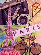 Bicycle Collage Prints - Paris  Print by Eloise Schneider