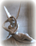 Eros Art - Paris Eros and Psyche Angels Louvre Museum - Paris Angel Art - Paris Romantic Eros and Psyche Art  by Kathy Fornal