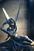 Eros Art Prints - Paris Eros and Psyche Romantic Lovers - Louvre Museum Sculpture Eros and Psyche  Print by Kathy Fornal