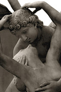 Psyche Metal Prints - Paris - Eros and Psyche Romantic Sculpture Metal Print by Kathy Fornal