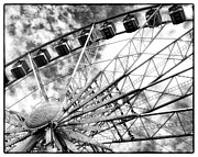 Black And White Paris Posters - Paris Ferris wheel Poster by Philip Sweeck