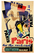 Vintage Posters Art - Paris for the Weekend by Nomad Art And  Design