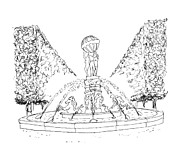 J.p. Drawings Prints - Paris fountain Print by Steven Tomadakis