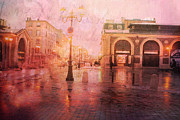 Pink Photos Prints - Paris France Surreal Rainy Night Street Scene Print by Kathy Fornal