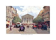 France La Madeleine Metal Prints - Paris France - The Rue Royal and The Madeleine - 1910 Metal Print by John Madison