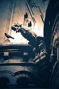 Gothic Dark Photography Photos - Paris Gargoyles - Gothic Paris Gargoyle With Raven - Sacre Coeur Cathedral - Montmartre by Kathy Fornal