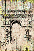 Wine Reflection Art Mixed Media Framed Prints - Paris Gate Vintage Poster Framed Print by Art World