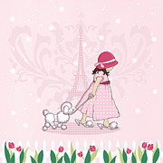 Featured Drawings Prints - Paris Girl and Poodle Eiffle Tower Print by Amanda Francey