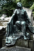 Cemetery Art Photos - Paris Gothic Female Mourner - Montmartre Cemetery Female Sculpture - Mother Looking Over Son by Kathy Fornal