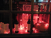 Wine-bottle Prints - Paris Holiday Christmas Wine Window Display - Paris Red Holiday Wine Bottles Window Display  Print by Kathy Fornal