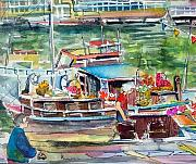 Mindy Newman Drawings Prints - Paris House Boat Print by Mindy Newman