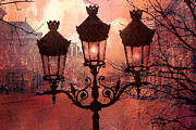 Night Scenes Prints - Paris Impressionistic Street Lamps Surreal Black Orange Street Lanterns Architecture Print by Kathy Fornal