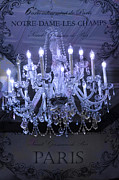 Chandelier Prints - Paris In Blue Posh Sparkling Chandelier Art  Print by Kathy Fornal