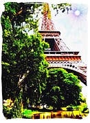 Eiffel Tower Mixed Media Metal Prints - Paris in June Metal Print by Gra Howard