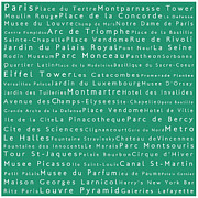 Champs Elysees Framed Prints - Paris in Words Algae Framed Print by Sabine Jacobs