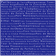 Elysees Prints - Paris in Words Blue Print by Sabine Jacobs
