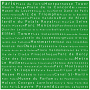 Elysees Prints - Paris in Words Green Print by Sabine Jacobs