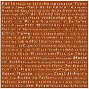 Elysees Prints - Paris in Words Toffee Print by Sabine Jacobs
