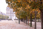 Fall Photos Posters - Paris Jardin des Tuileries Autumn Fall Trees - Dreamy Tuileries Autumn Trees Nature Gardens Poster by Kathy Fornal