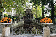 Autumn Photos Posters - Paris Jardin du Luxembourg Gardens Autumn Fall  - Medici Fountain Sculpture Autumn Fall Photographs Poster by Kathy Fornal