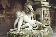 Sculptures Posters - Paris - Jardin du Luxembourg Gardens - The Medici Fountain Sculpture Monuments Romantic Lovers Poster by Kathy Fornal