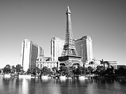 Paris Las Vegas Hotel And Casino Posters - Paris Las Vegas BW Poster by Jenny Hudson