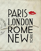 Paris Digital Art Posters - Paris London Rome and New York Poster by Jaime Friedman