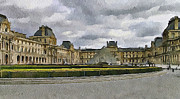Old Town Digital Art Prints - Paris Louvre 5 Print by Yury Malkov