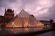 Louvre Museum Prints - Paris Louvre Museum Dusk Twilight Night Lights - Louvre Pyramid Triangle Night Lights Architecture  Print by Kathy Fornal