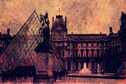 Paris In Sepia Framed Prints - Paris Louvre Museum - Musee du Louvre - Louvre Pyramid  Framed Print by Kathy Fornal