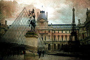 Paris Metal Prints - Paris Louvre Museum Pyramid Architecture - Eiffel Tower Photo Montage of Paris Landmarks Metal Print by Kathy Fornal